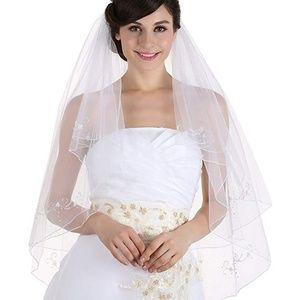 Accessories - Ivory 2tier 2T floral beaded fingertip length veil